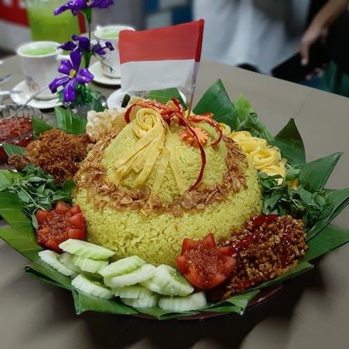 Free stock photo of nasi kuning merah putih