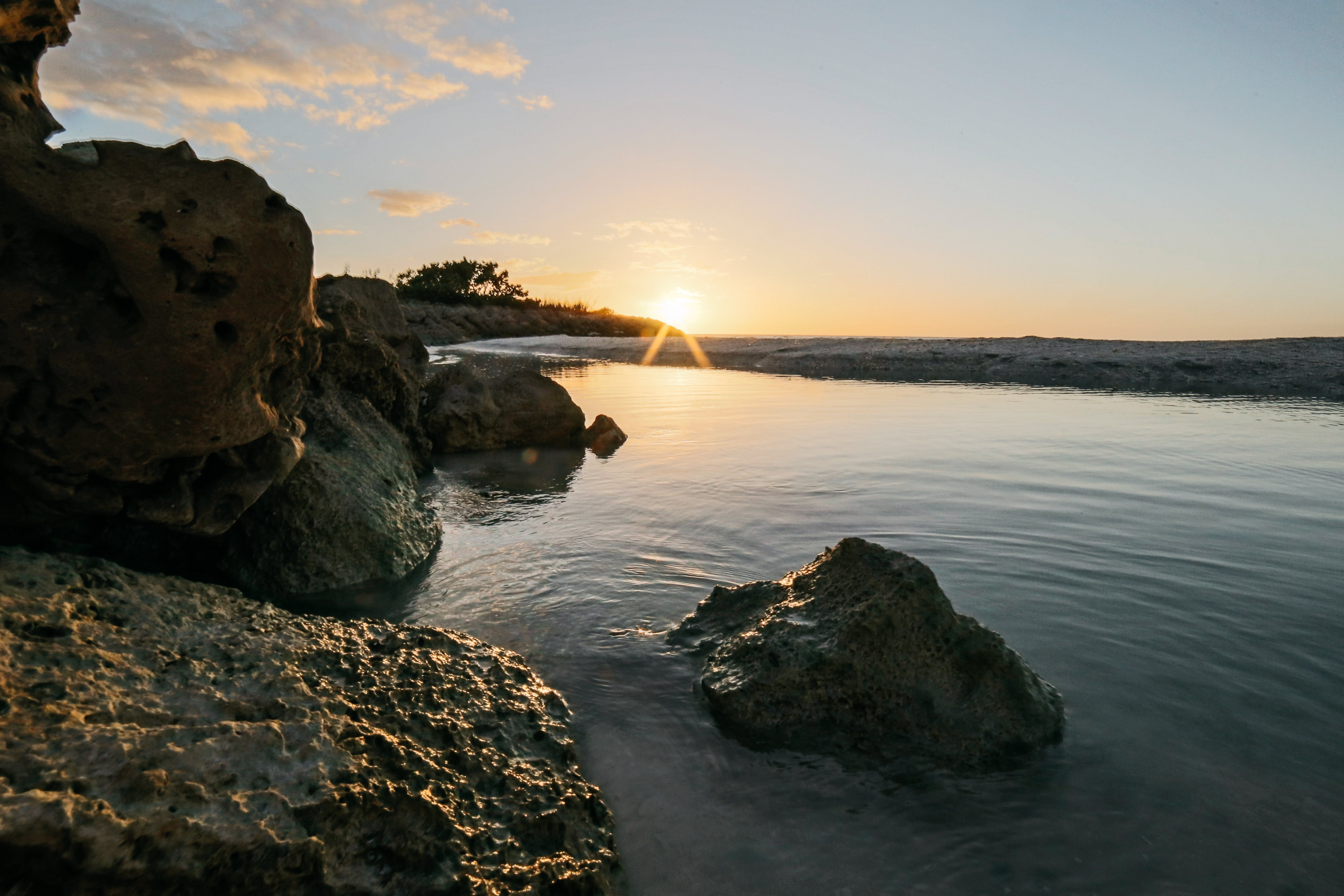 beach, boulders, close -up