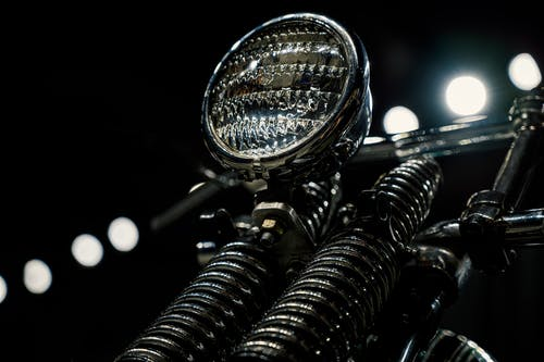 Close-up Photo of Motorcycle Headlight