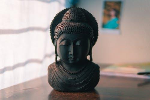 Black Buddha Head Figurine