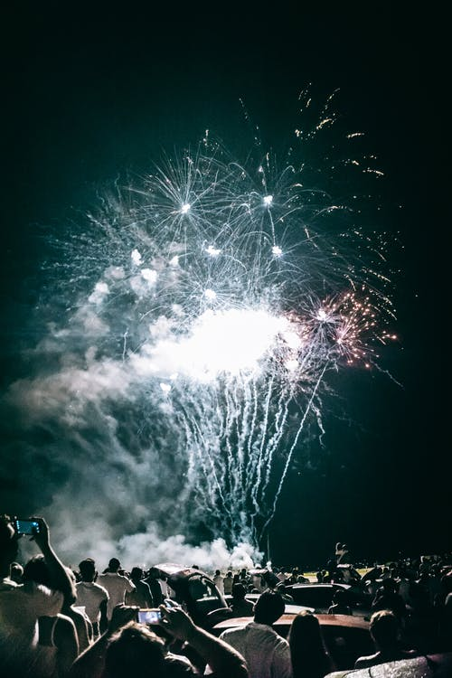 White Fireworks at Night