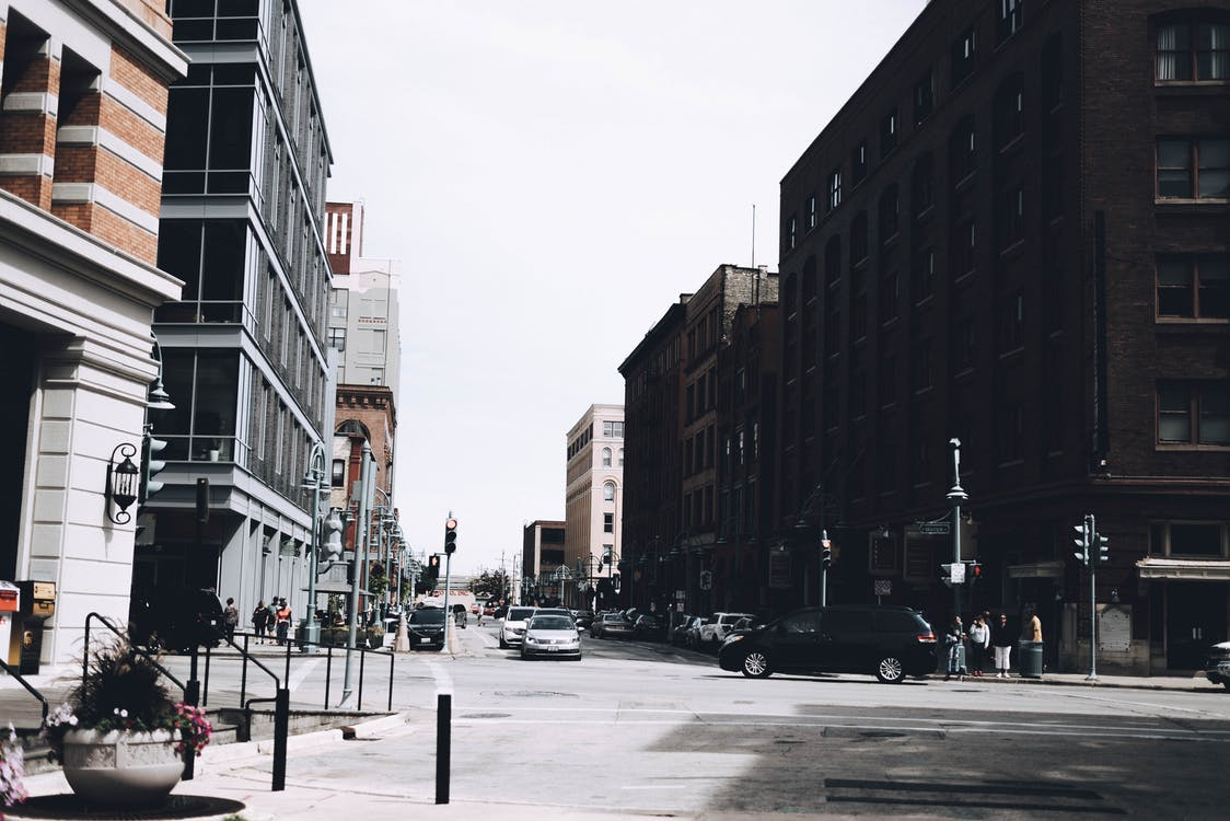 Free stock photo of buildings, cars, city