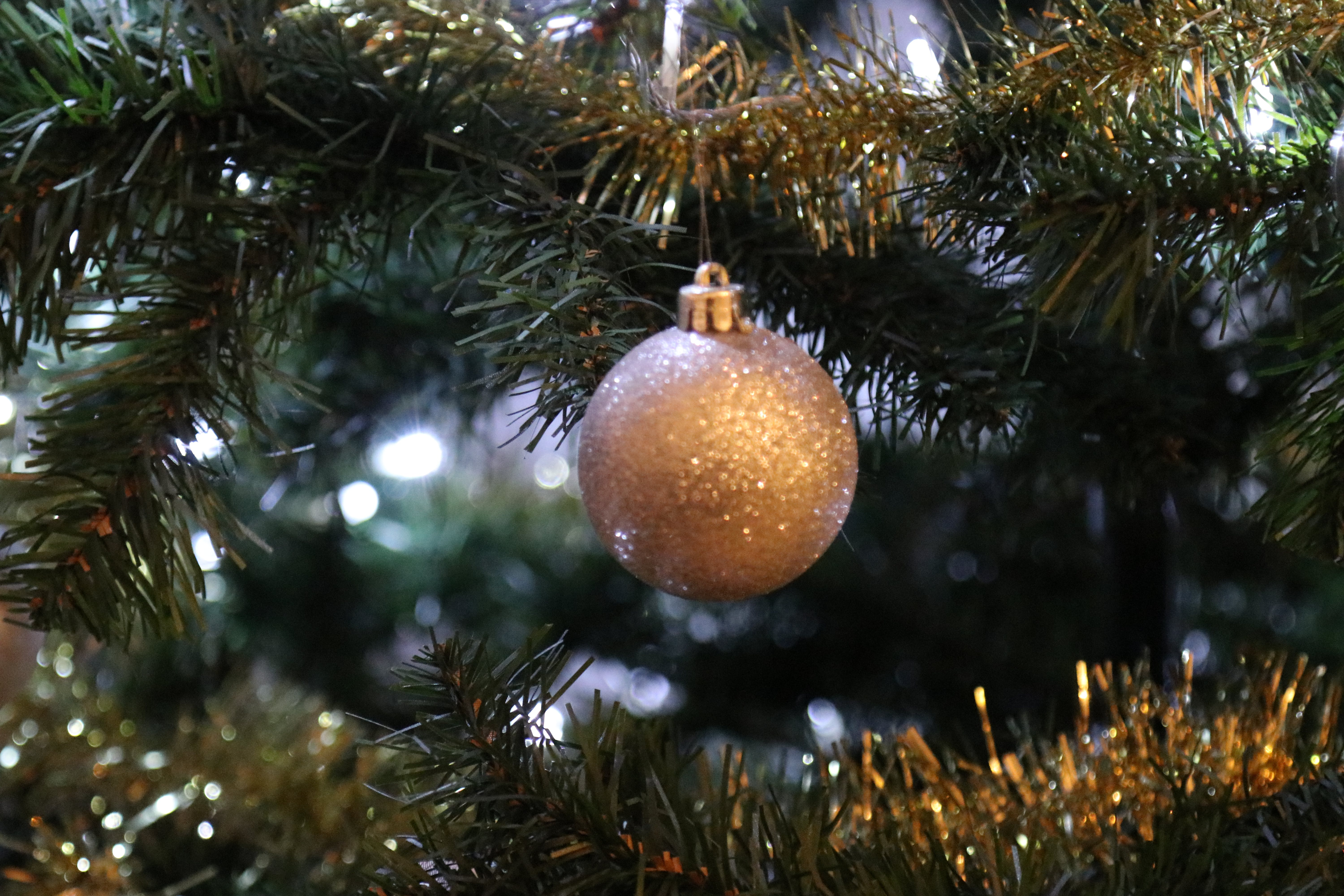 Brown Bauble Hanging on Green Christmas Tree