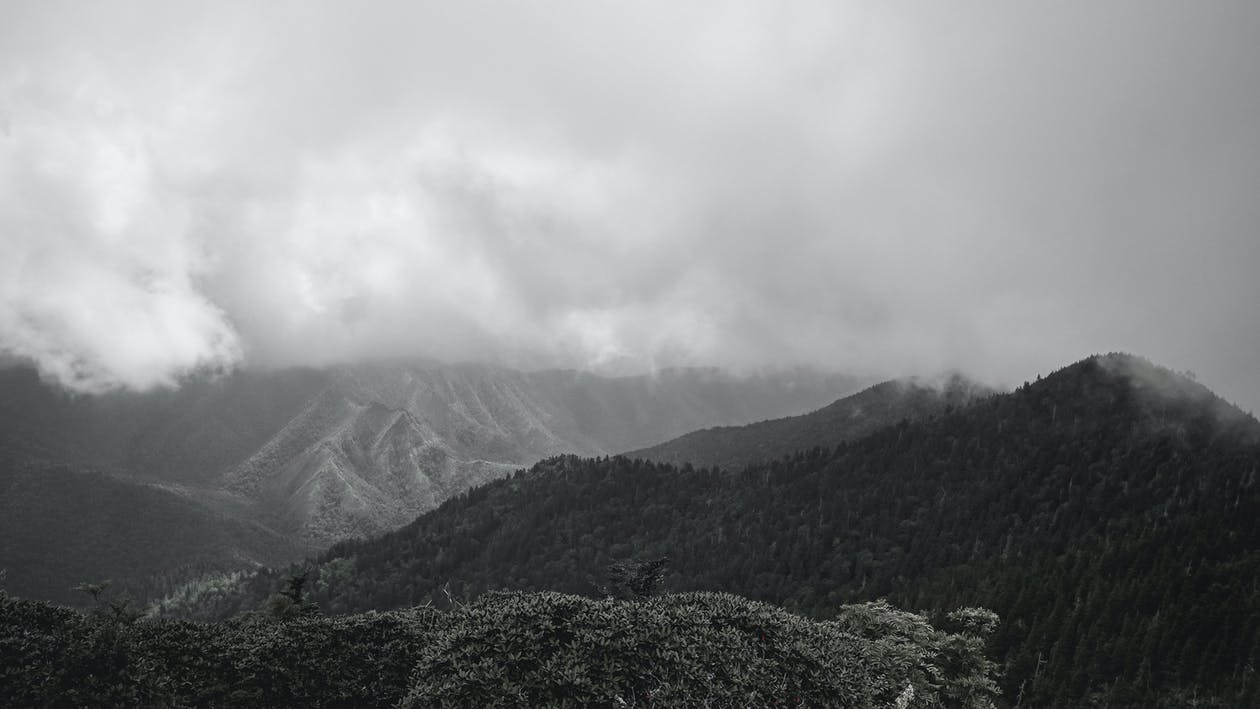 Black and White Photo of Mountain with Fog