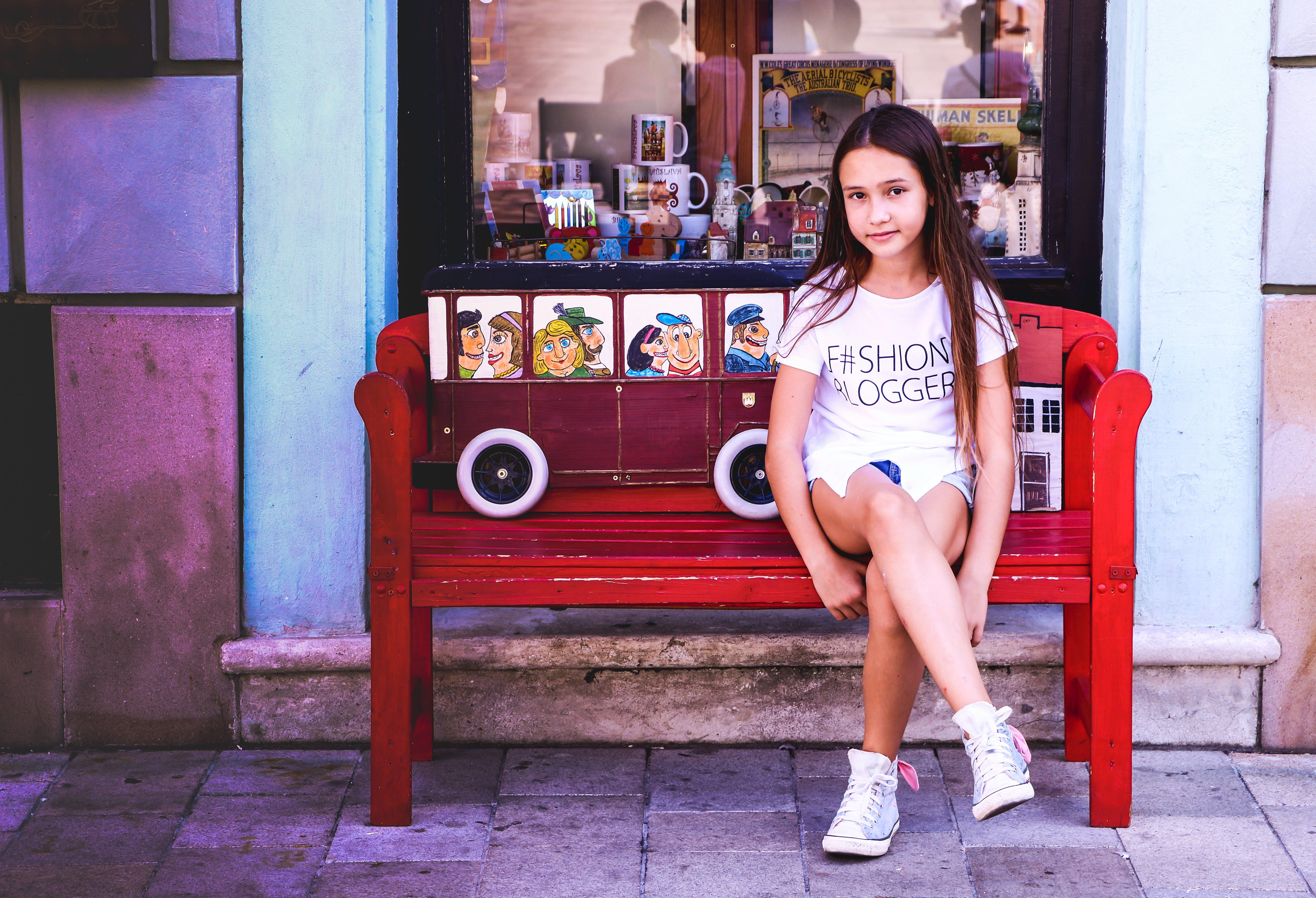 Free stock photo of bench, girls, little girl, portrait