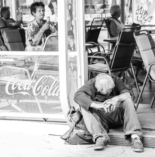 Free stock photo of black and white, contrast, homeless, ice cream