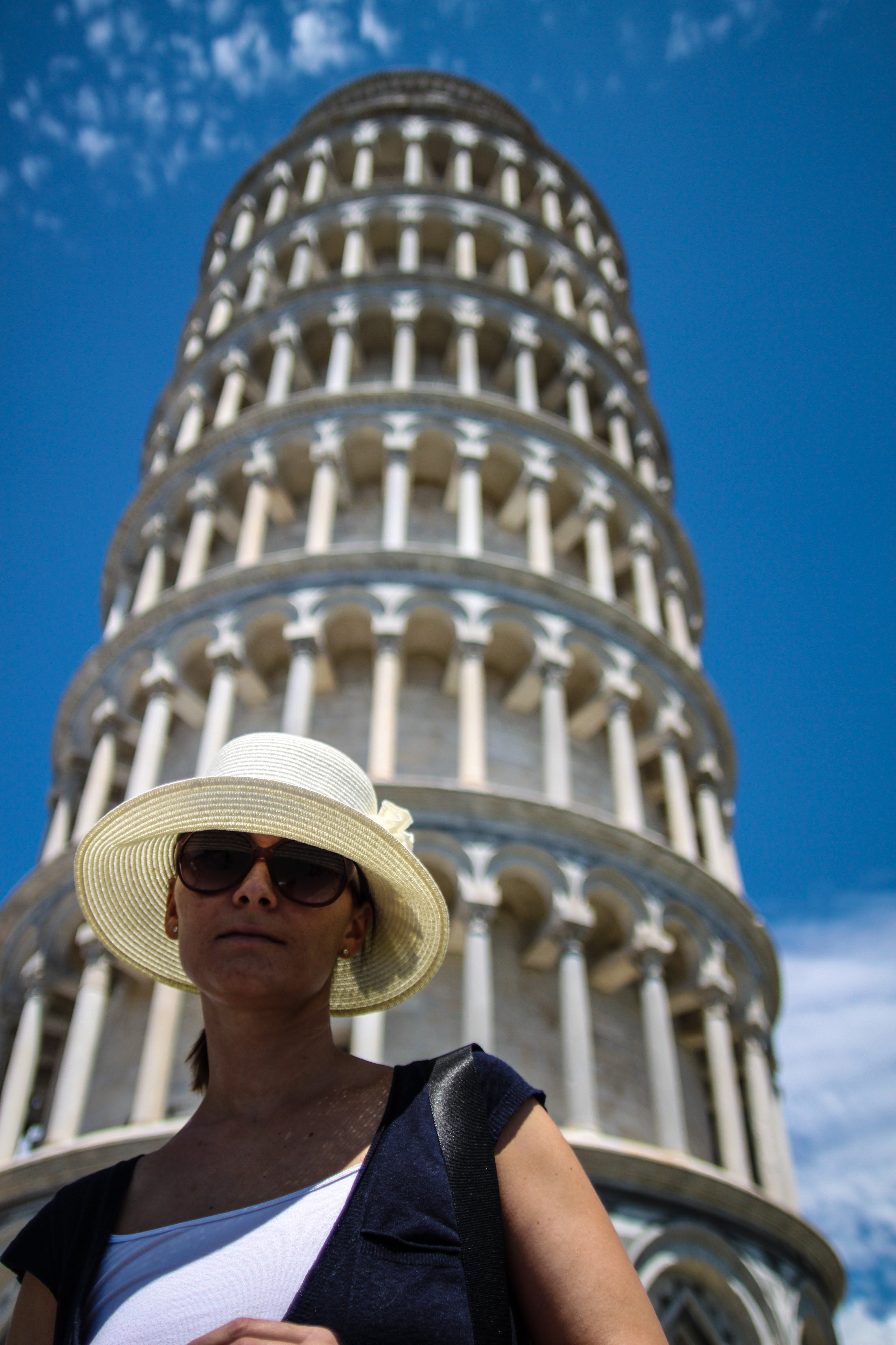 Free stock photo of hat, leaning tower of pisa, tourist, woman