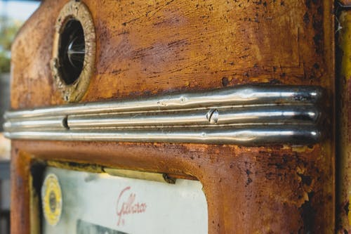 Free stock photo of gas pump, metal, rust, vintage