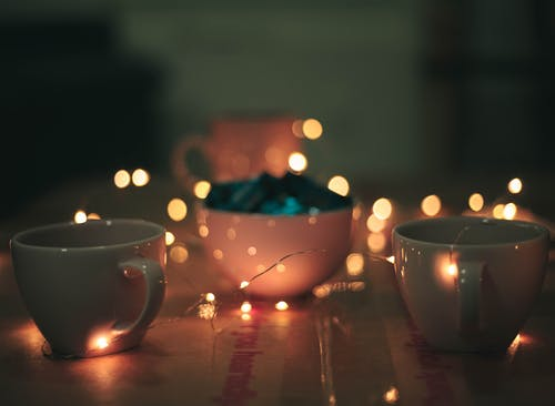 Free stock photo of bokeh, cup, fairy lights, moody