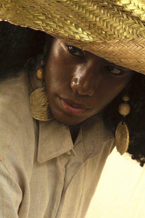 Woman Wearing Straw Hat