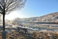 snow, wood, bench