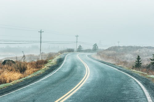 Asphalt Road Near Power Poles
