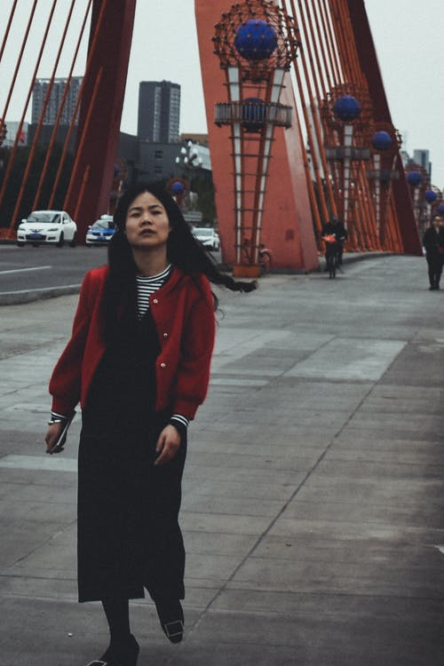 Free stock photo of bridge, china girl, red coat, walking