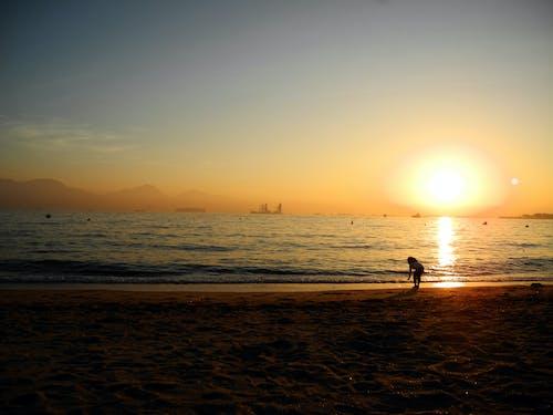 Foto profissional grátis de litoral, pôr do sol, sombra