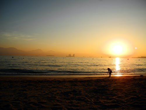 Free stock photo of beach, shadow, sunset