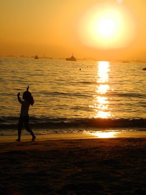 Foto profissional grátis de garota, litoral, pôr do sol, sombra