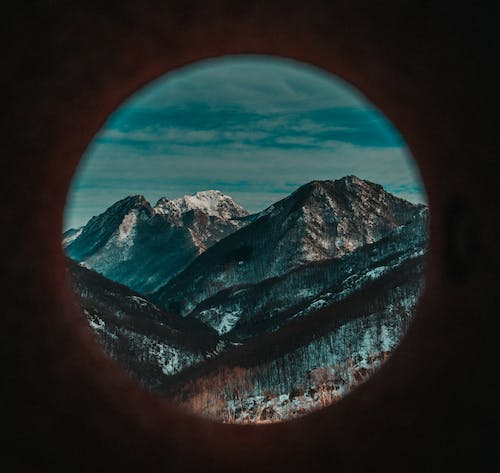 Fish Eye Photography of Rocky Mountain Under Cloudy Sky