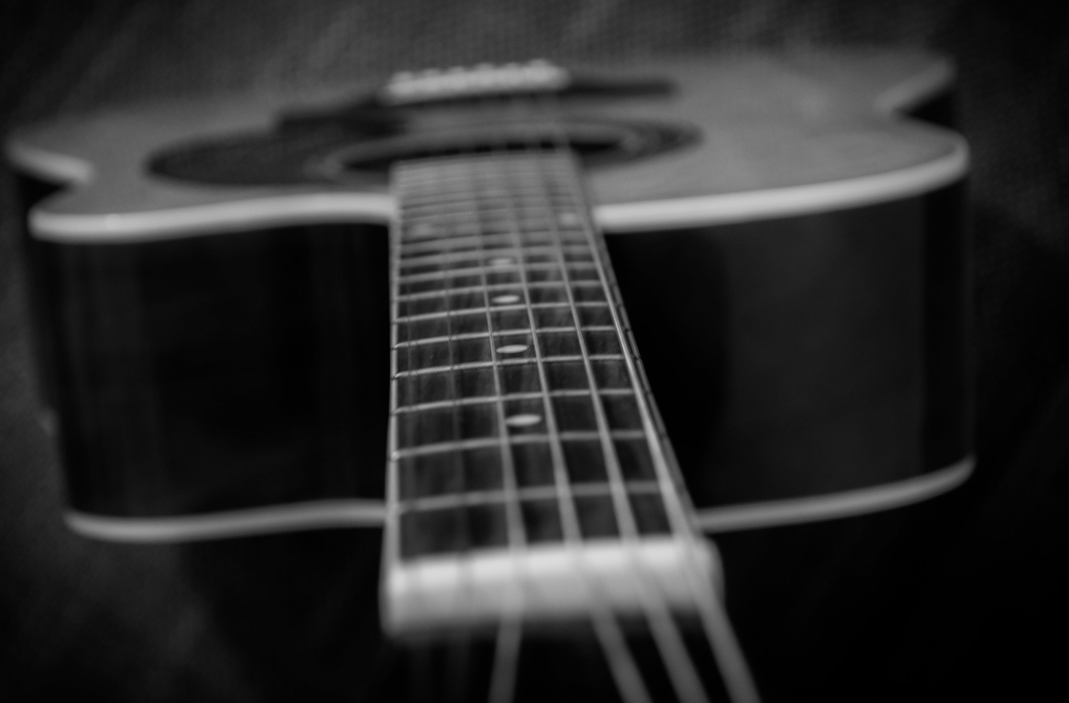 acoustic, bass, black and-white