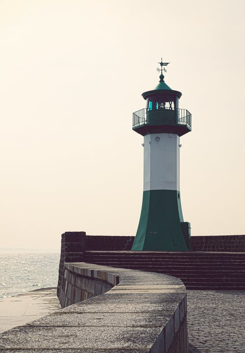 White and Green Lighthouse