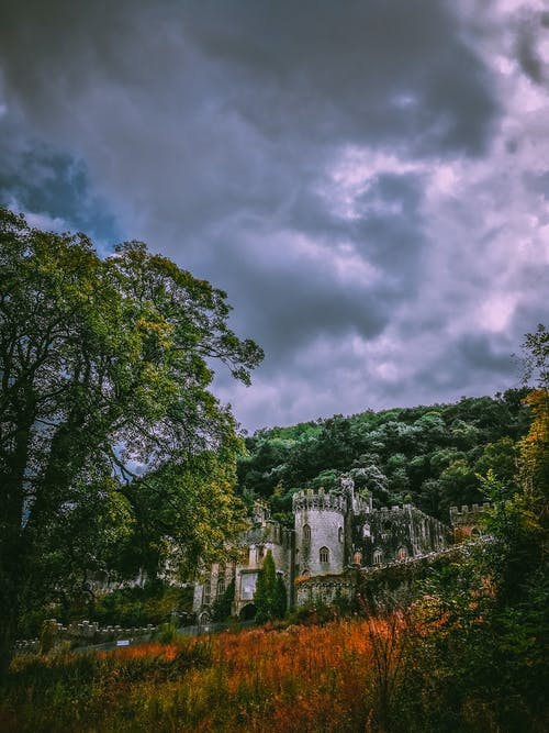 An Old Castle Under Dark Clouds