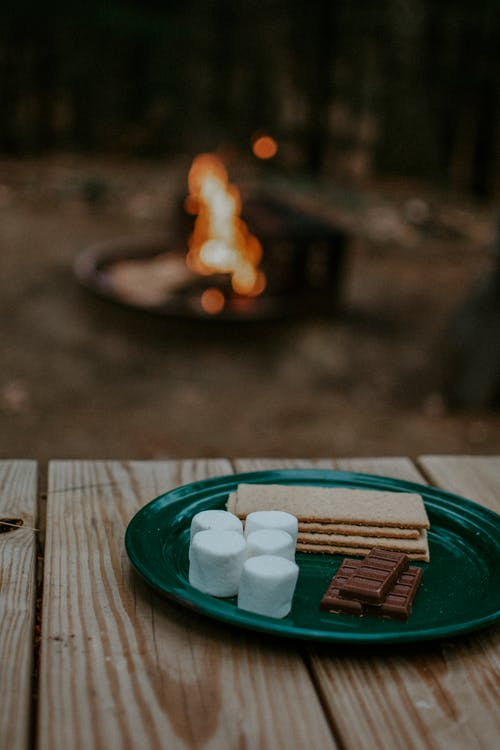 Plate of Chocolate, Crackers and Marshmallows