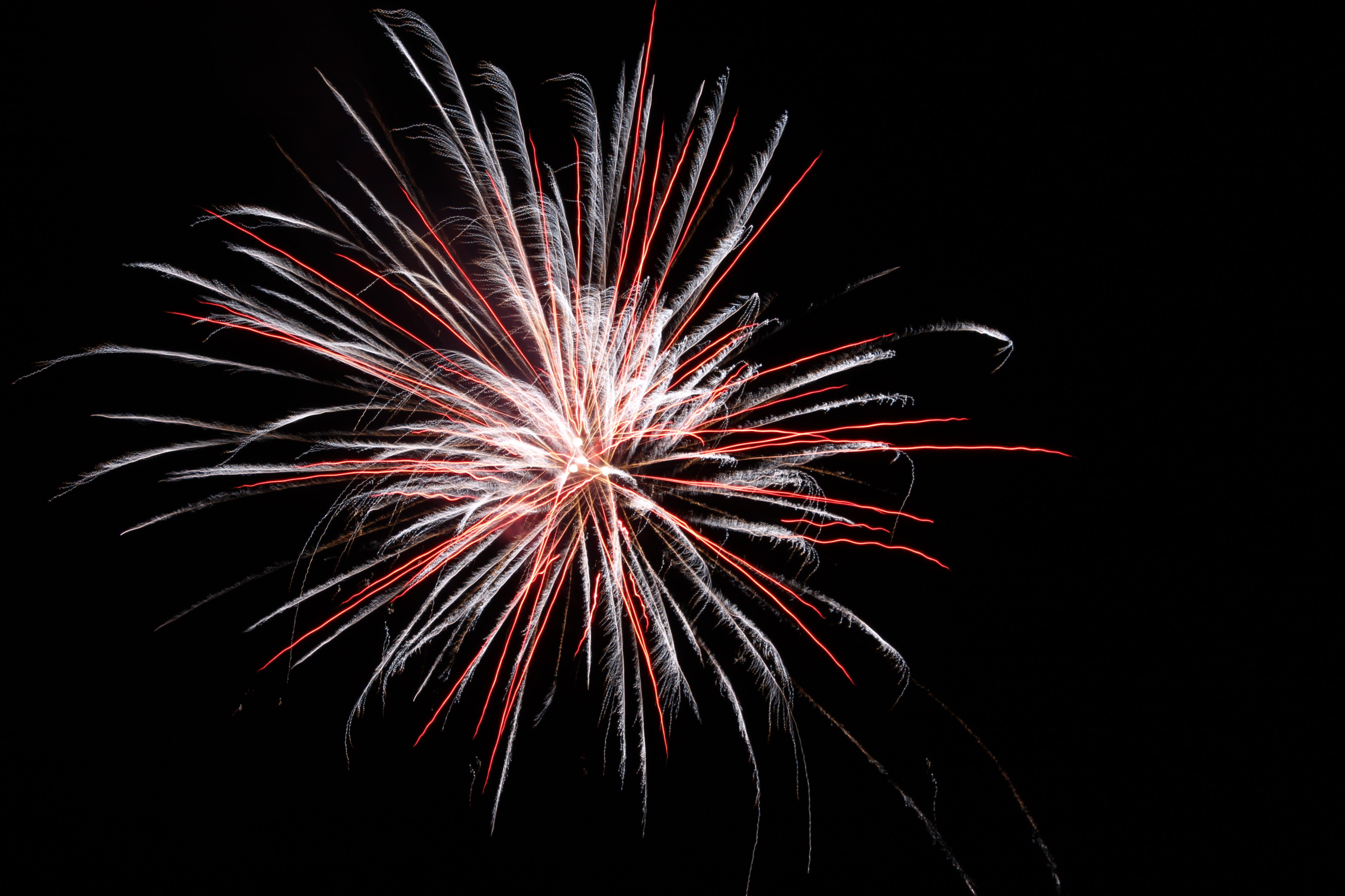 White and Red Firework Burst