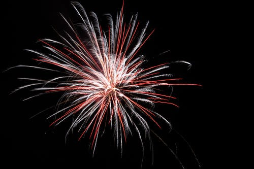 White and Red Firework Burst