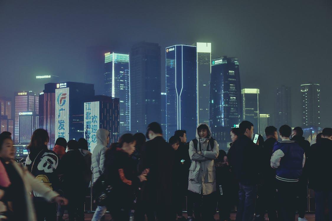 architecture chinoise, bleu, building