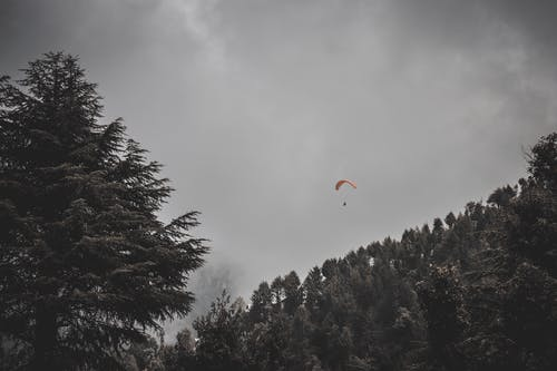 Man Riding Parachute