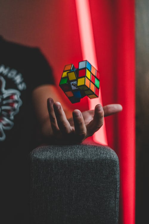 Elevating 3x3 Rubik's Cube on Person's Palm