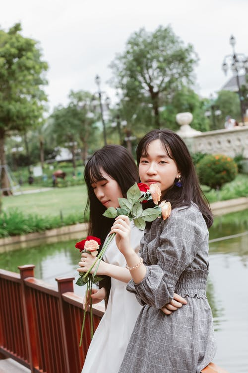 asijské ženy, dívání, hezký
