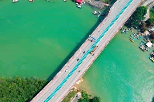 Aerial Photography of Vehicles Traveling on Bridge