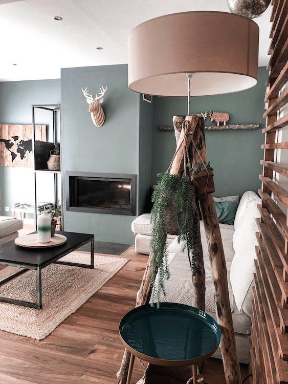 Beige Floor Lamp with Wooden Tripod