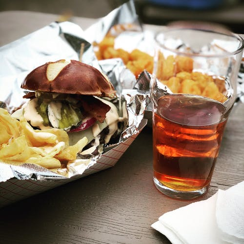 Free stock photo of beer, beer glass, burger, food truck