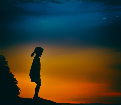 Silhouette of Girl during Night Time Painting