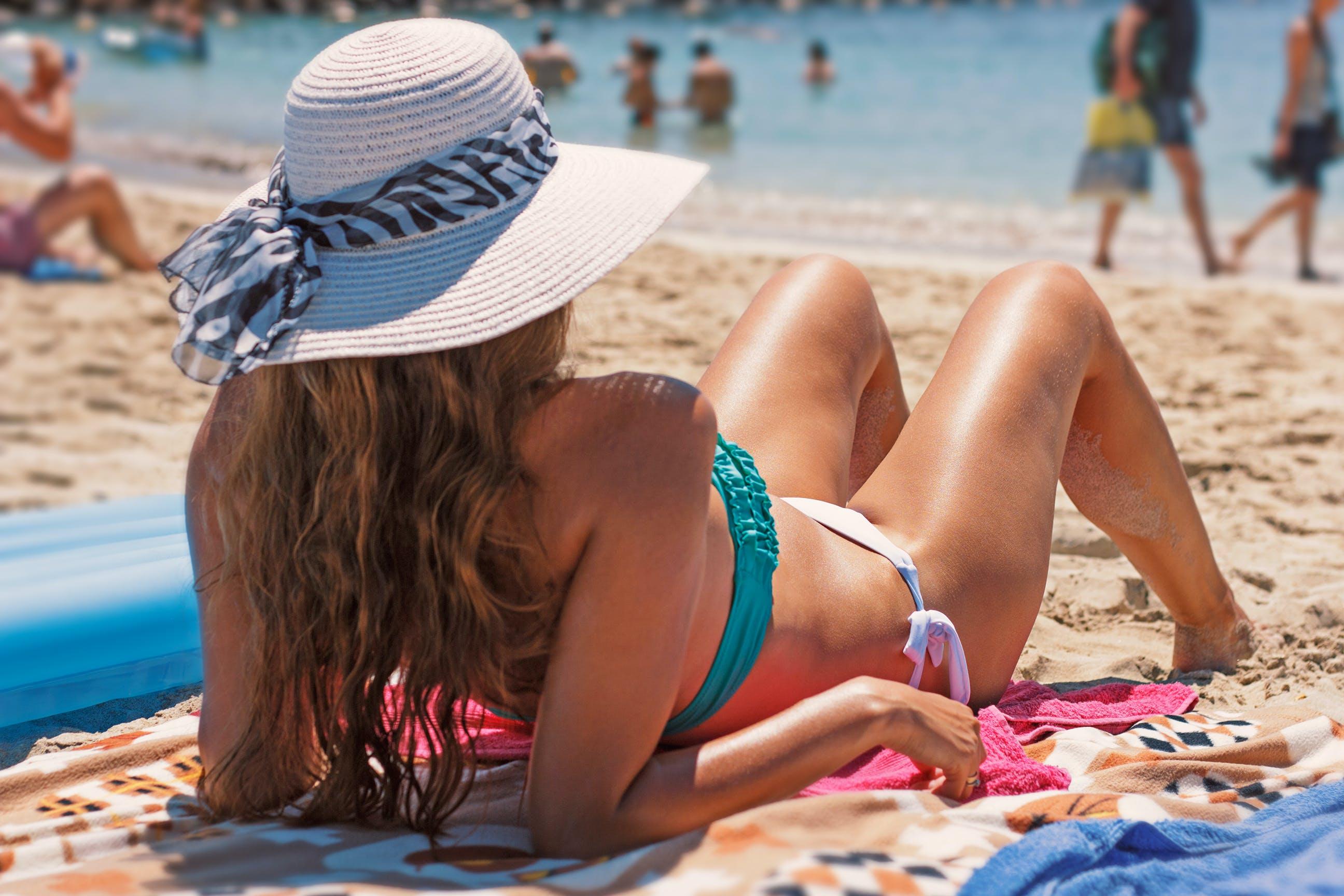 beach, beach hat, bikini