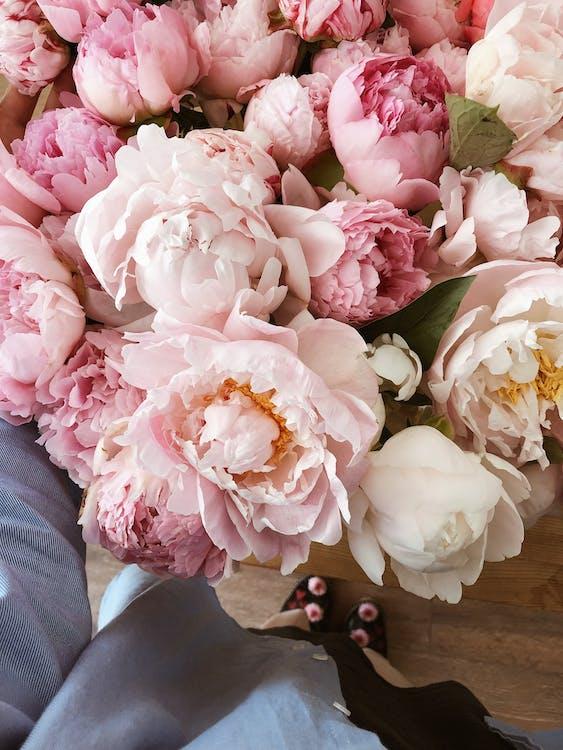 Zarter Blumenstrauß Aus Rosen Und Pfingstrosen