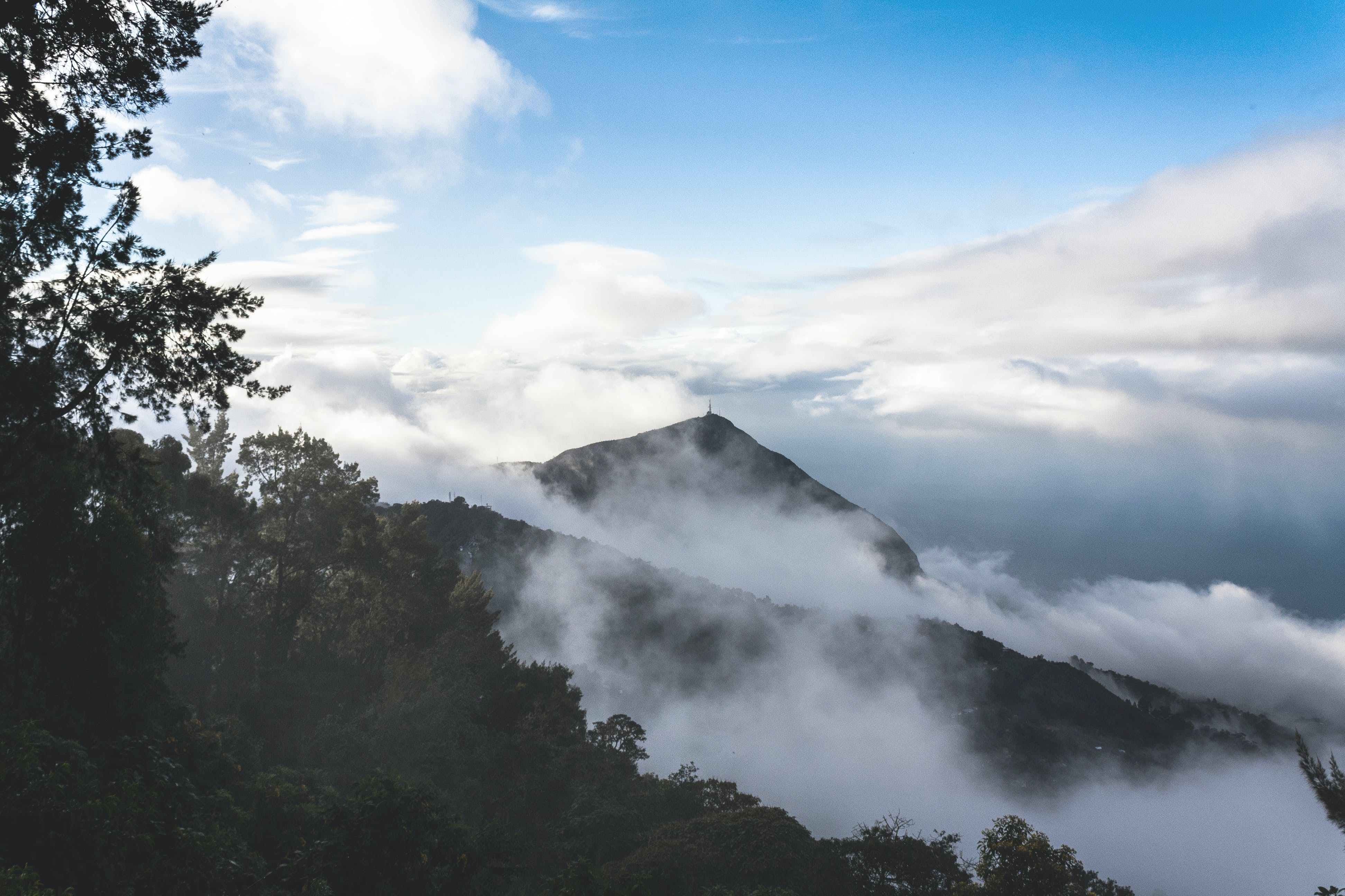 Free stock photo of blue sky, cloudy skies, mist, mountain