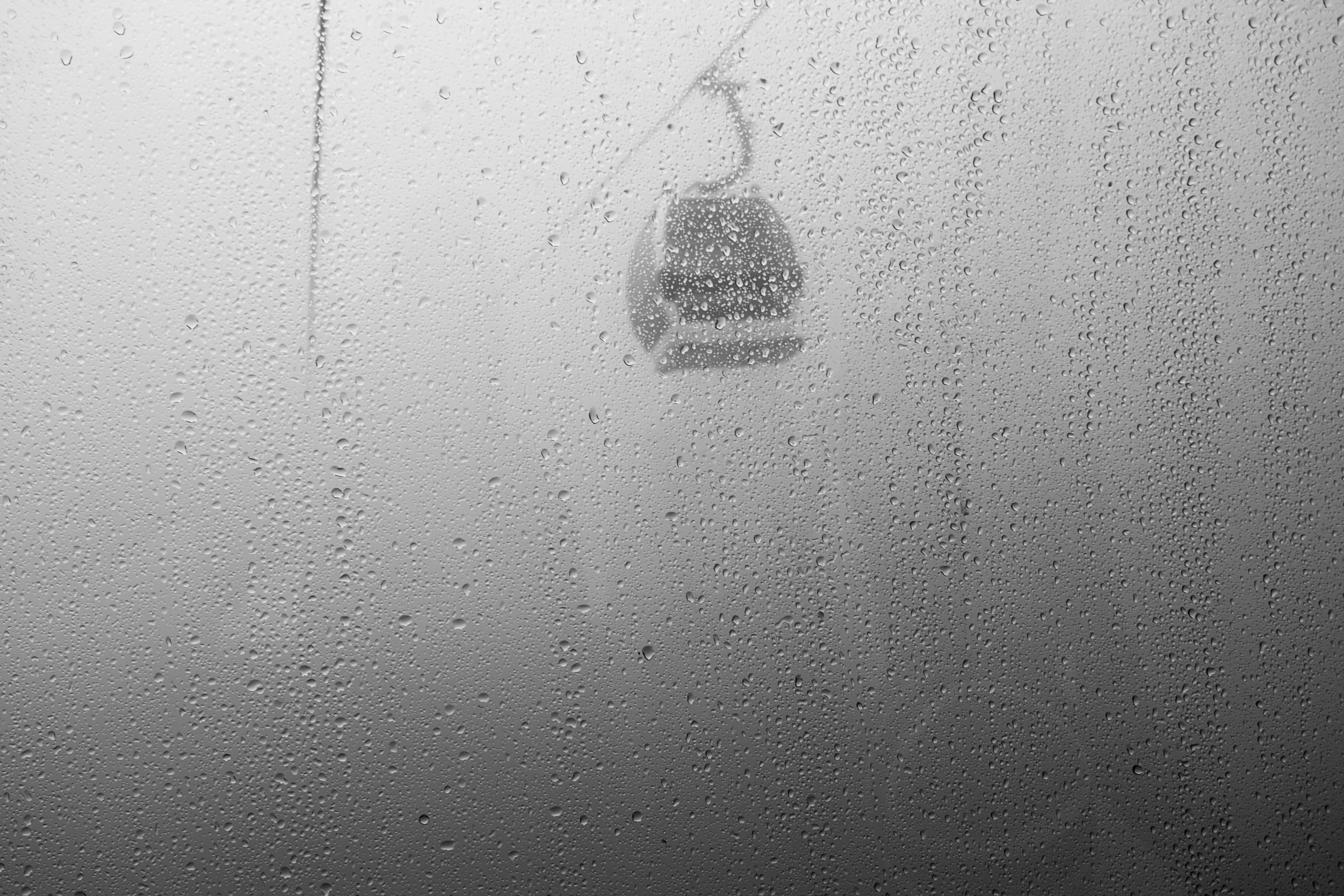 Free stock photo of black and white, cableway, mist, rain