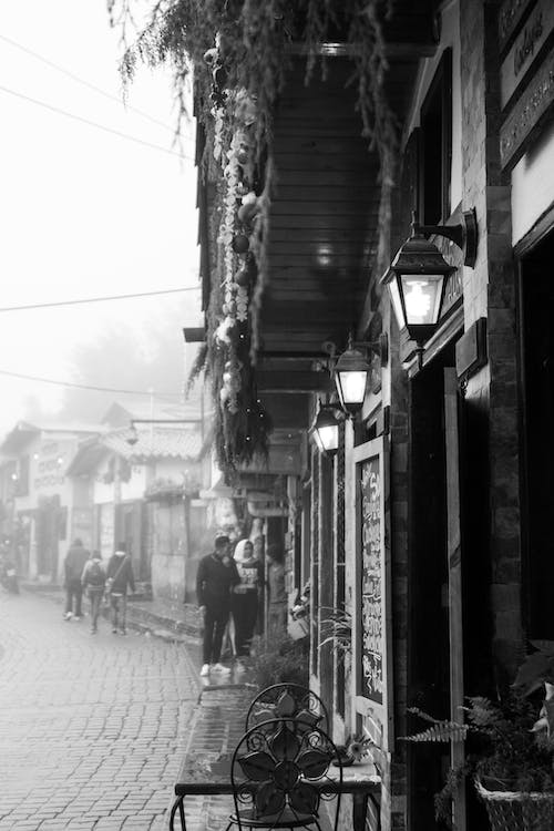 Free stock photo of black and white, couples, old town
