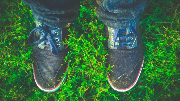 Free stock photo of dirty, grass, shoes, green