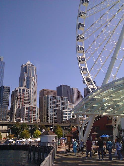 Free stock photo of boardwalk, city, ferris wheel, pedestrians