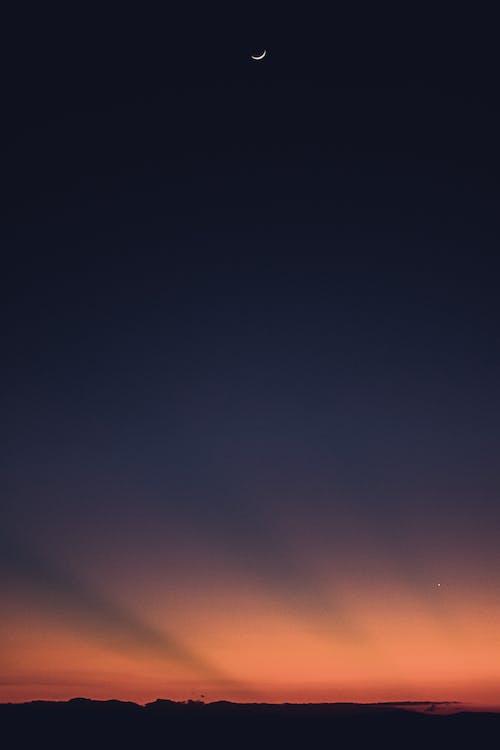 Ingyenes stockfotó hold, nap, Napkelte, verőfény témában