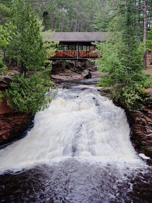 Free stock photo of bridge, covered bridge, waterfall