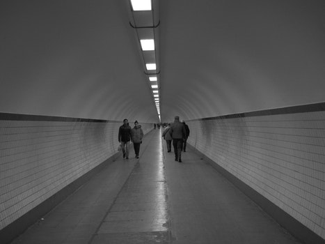 Free stock photo of people, street, tunnel, black and white