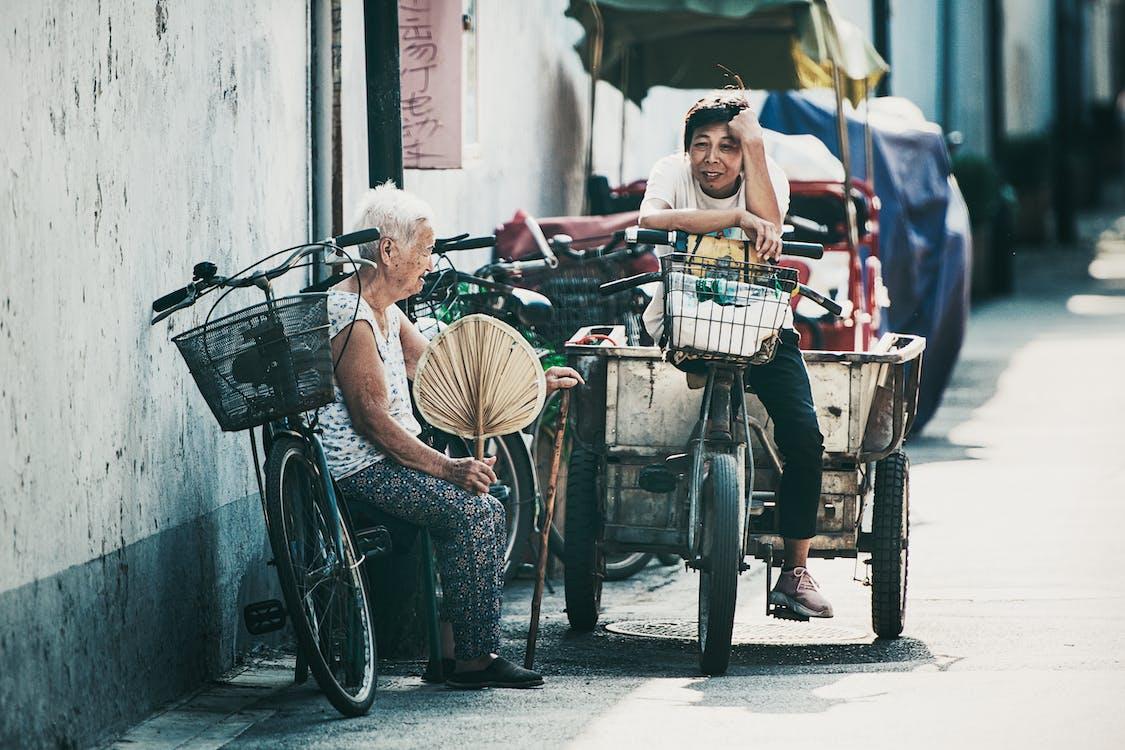 ældre, asiatiske mennesker, by