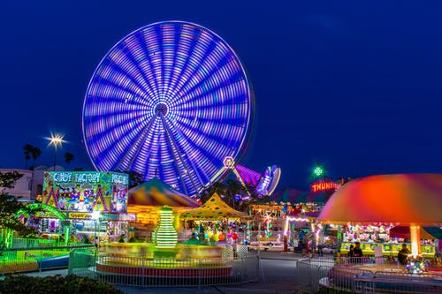 An Amusement Park At Night