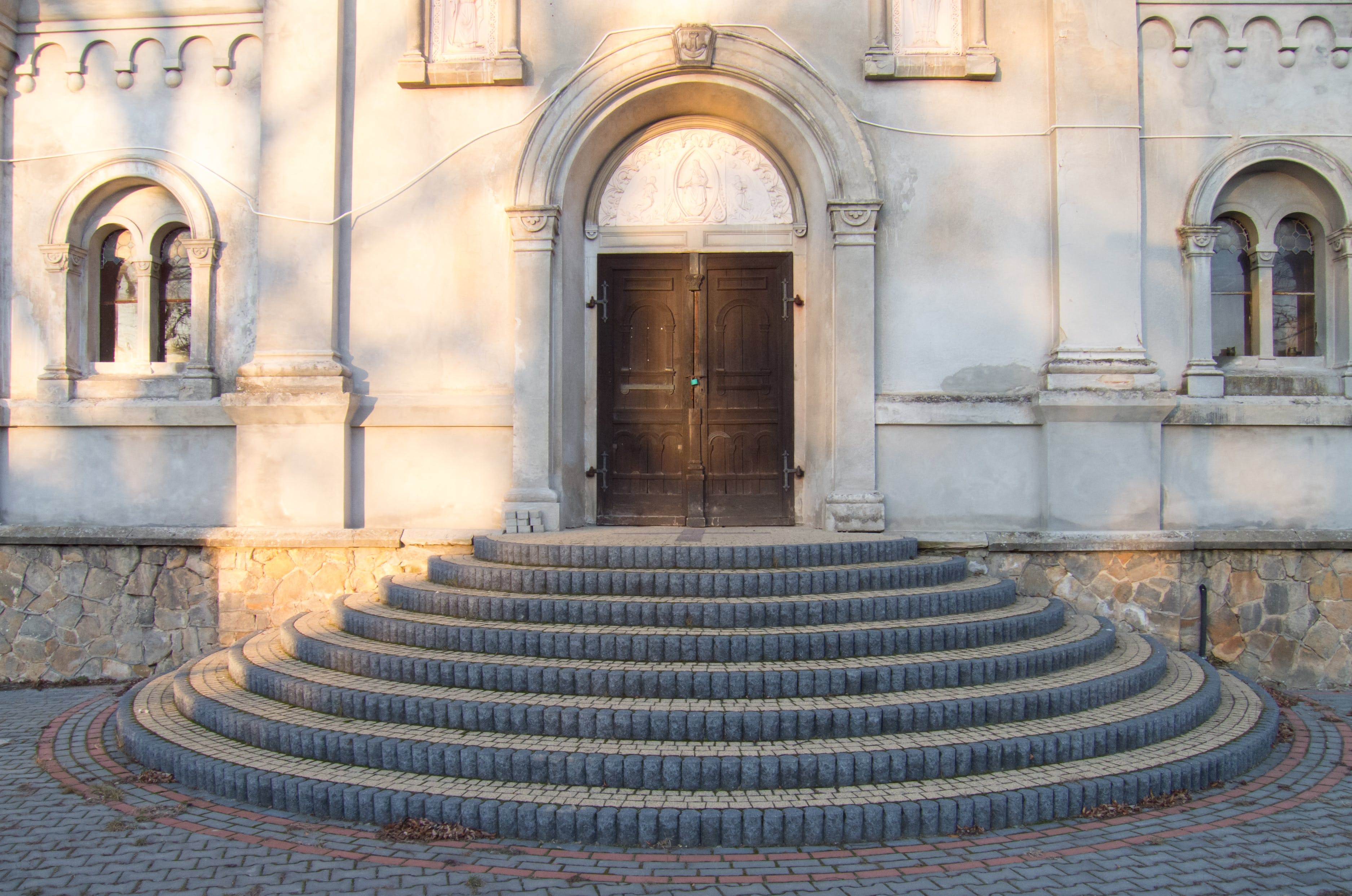 Free stock photo of stairs, architecture, white, church
