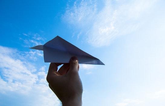 Free stock photo of flight, sky, hand, blue