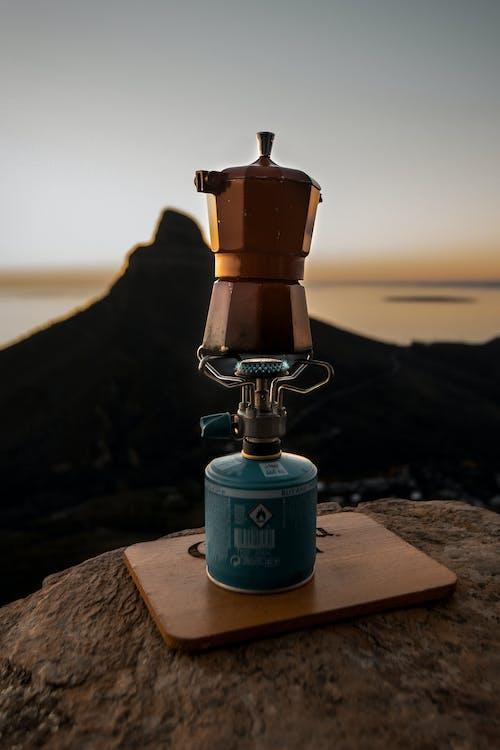 A Pot On A Portable Gas Burner Stove